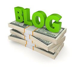 "The word ""blog"" sits on top of a stack of money."