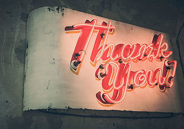 A thank-you sign.