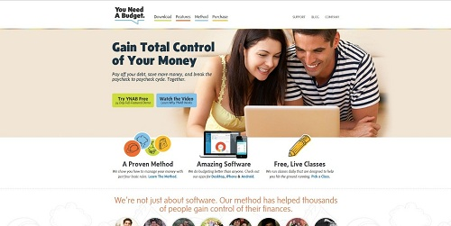 The You Need A Budget Homepage.